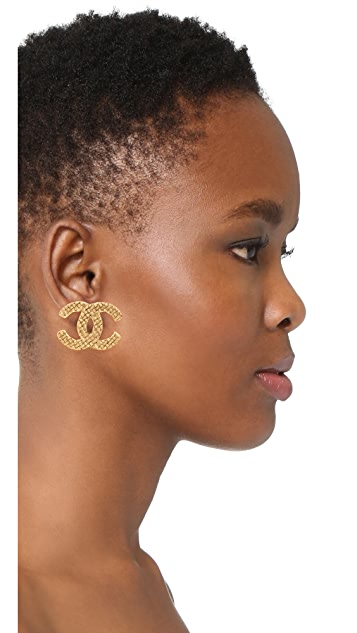 What Goes Around Comes Around Chanel Gold Woven CC Clip On Earrings (Previously Owned)