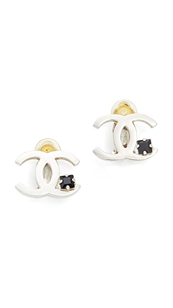 What Goes Around Comes Around Chanel Crystal CC Clip On Earrings (Previously Owned)