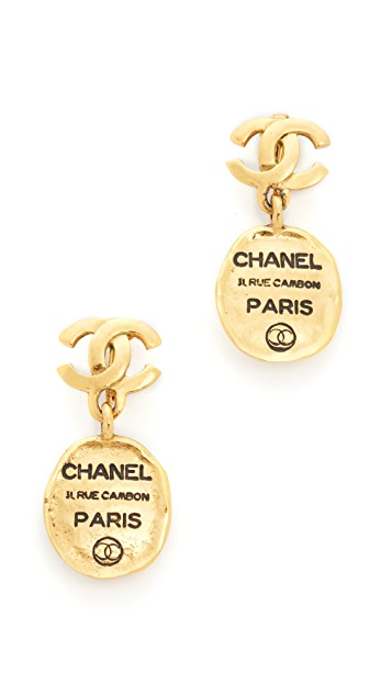 What Goes Around Comes Around Chanel Cambon Dangle Clip On Earrings (Previously Owned)