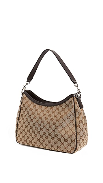 What Goes Around Comes Around Gucci Coated Canvas Web Hobo Bag (Previously Owned)