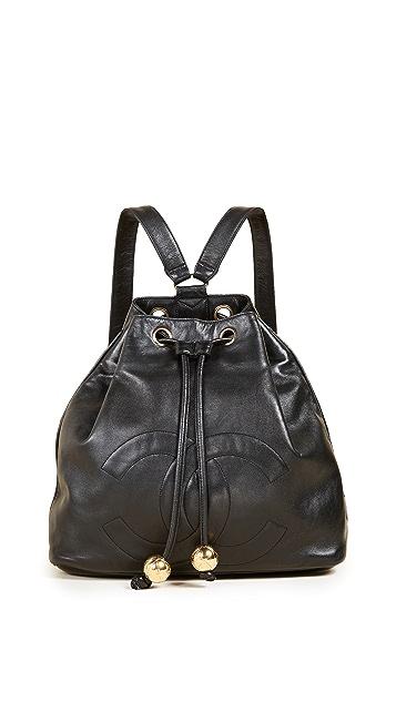 What Goes Around Comes Around Черный кожаный рюкзак Chanel (бывший в употреблении)