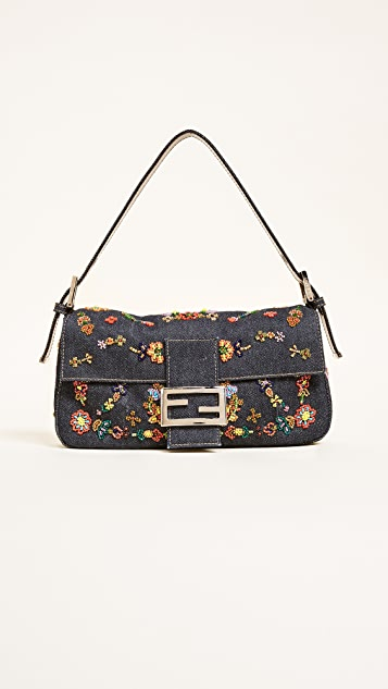 What Goes Around Comes Around Fendi Denim Beaded Baguette Bag (Previously Owned)
