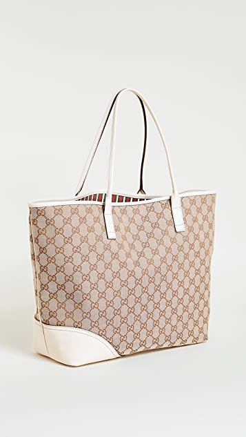 What Goes Around Comes Around Gucci Canvas Britt Tote Bag (Previously Owned)