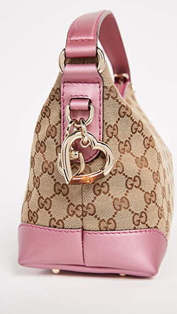 What Goes Around Comes Around Gucci Canvas Heart Bit Hobo Bag (Previously Owned)