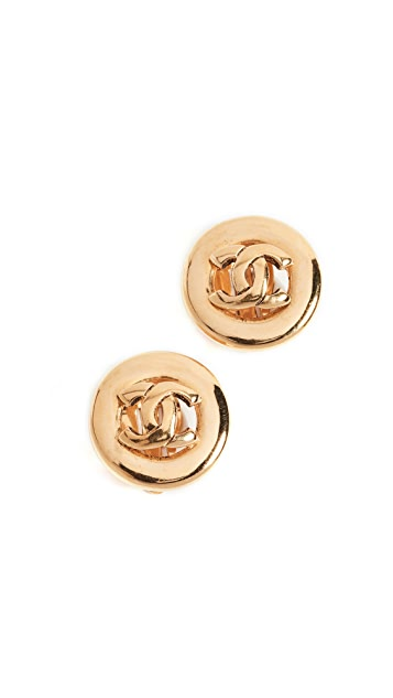 What Goes Around Comes Around Chanel CC Circle Clip On Earrings