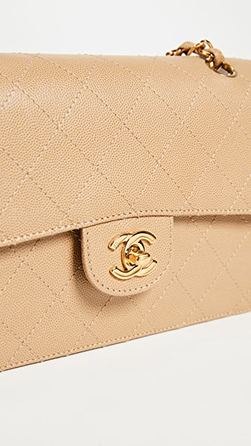 What Goes Around Comes Around Chanel Beige Caviar 2.55 Classic Flap Bag