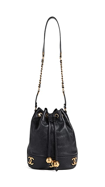 What Goes Around Comes Around Chanel Black Caviar 3CC Bucket Bag