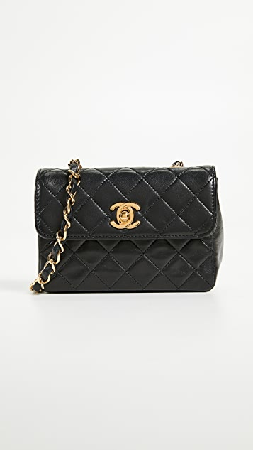 What Goes Around Comes Around Chanel Lambskin Half Flap Micro Bag