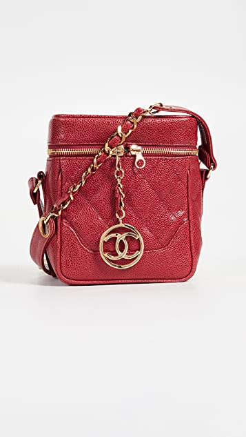 What Goes Around Comes Around Chanel Caviar Boxy Mini Cross Body Bag - Red