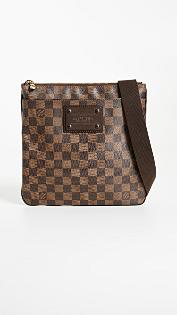 What Goes Around Comes Around Louis Vuitton Damier Ebene Pouch Plate Brooklyn - Brown