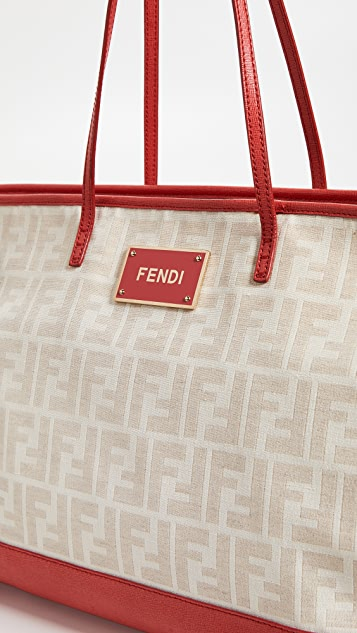 What Goes Around Comes Around Fendi Zucca Canvas Roll Tote Bag