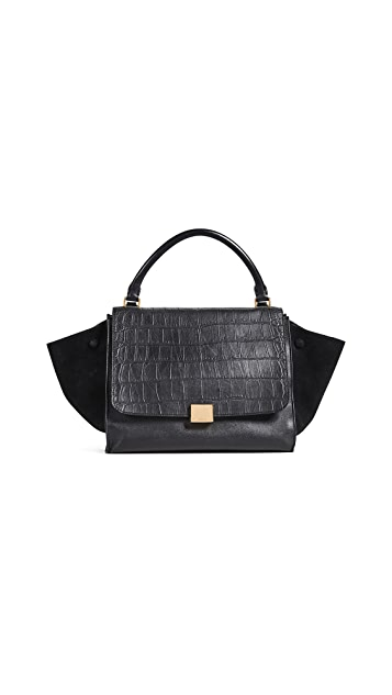 What Goes Around Comes Around Celine Medium Embossed Croc Trapeze Tote