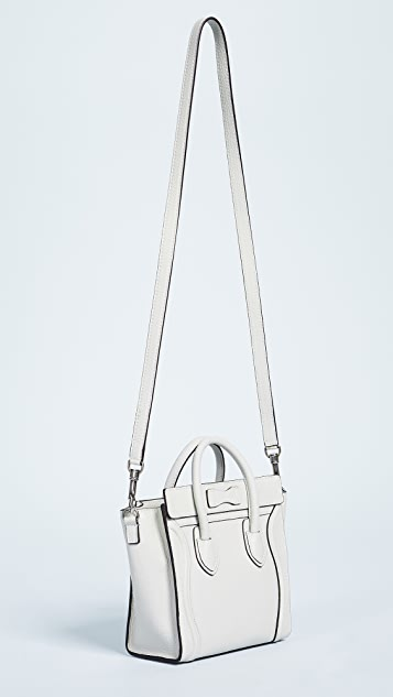 What Goes Around Comes Around Celine Drummed Leather Nano Luggage Tote