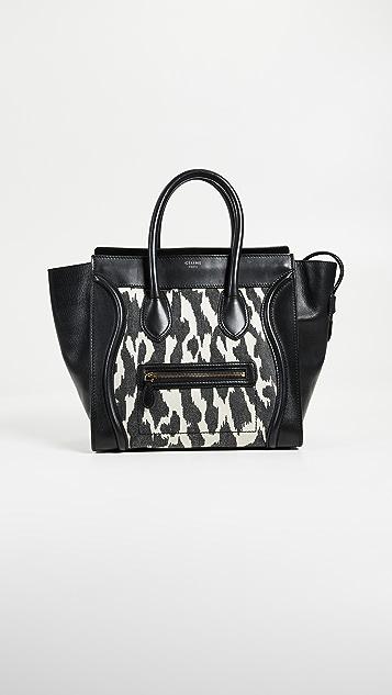 What Goes Around Comes Around Celine Zebra Canvas Mini Luggage Tote - Zebra