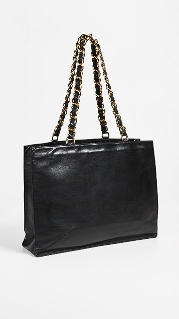 What Goes Around Comes Around Объемная сумка Chanel с короткими ручками из плоских цепочек