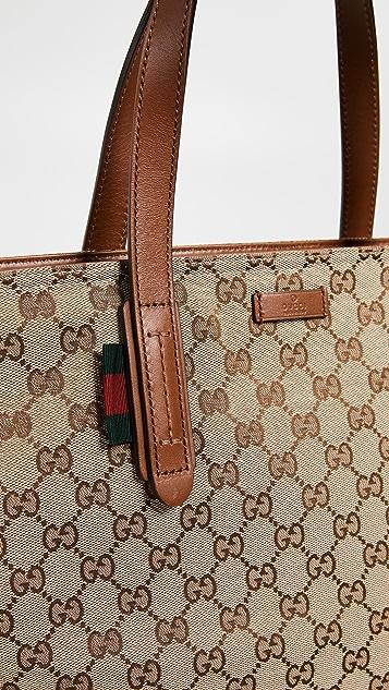 What Goes Around Comes Around Коричневая однотонная объемная сумка с короткими ручками Gucci