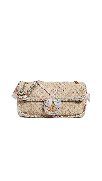 What Goes Around Comes Around Chanel Straw Classic Flap Medium Bag