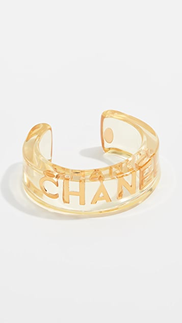 What Goes Around Comes Around Chanel Lucite Letters Cuff Bracelet