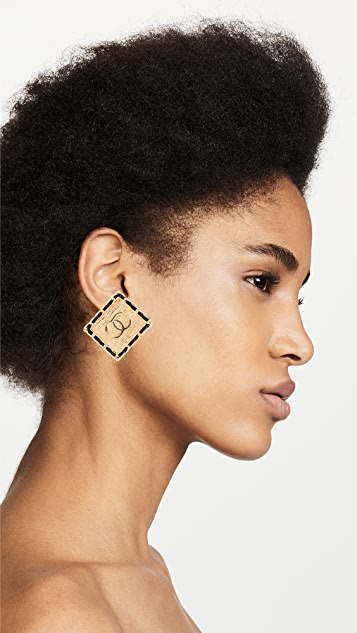 What Goes Around Comes Around Chanel Square CC Earrings