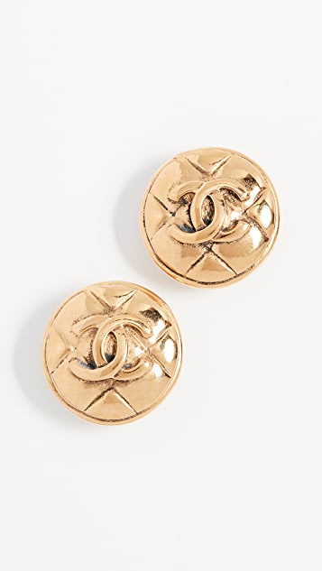 What Goes Around Comes Around Chanel Quilted Round Earrings