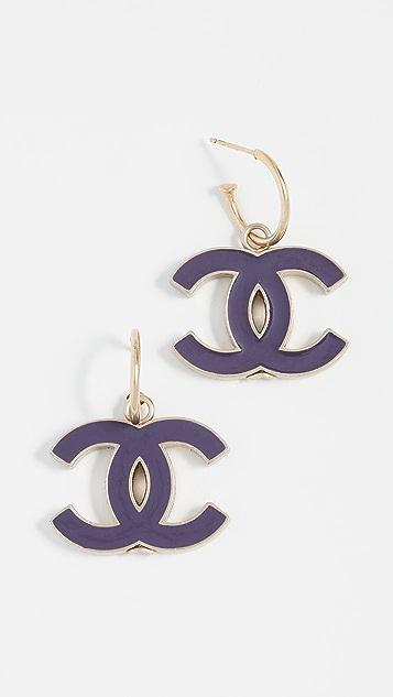 What Goes Around Comes Around Серьги Chanel с эмалевыми буквами «CC»