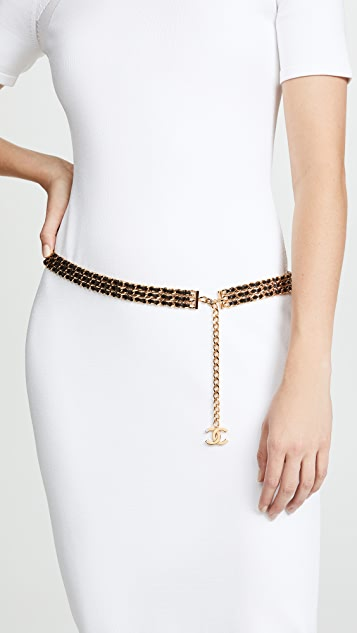 What Goes Around Comes Around Chanel Black and Gold Chainbelt