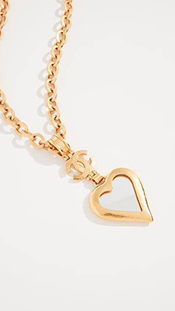 What Goes Around Comes Around Chanel Heart Mirror Necklace