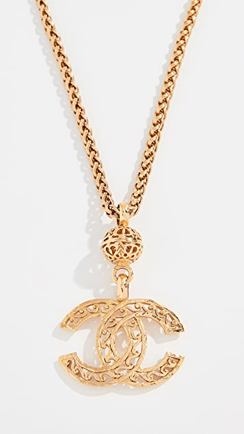 What Goes Around Comes Around Chanel Gold Fretwork CC Necklace
