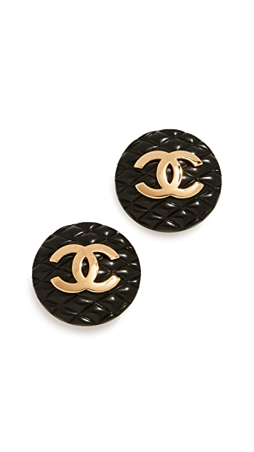 What Goes Around Comes Around Chanel CC Round Clip On Earrings