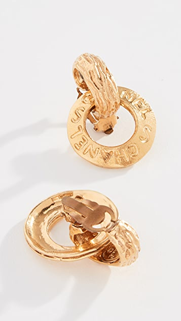What Goes Around Comes Around Chanel Gold Hoop Dangle Earrings