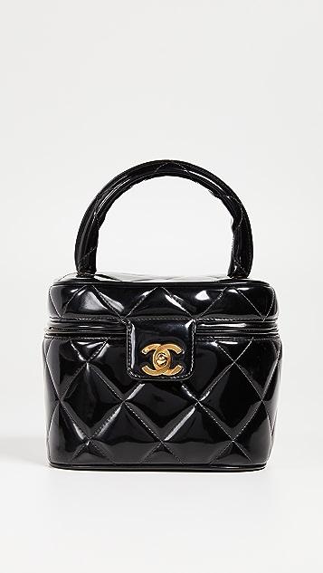 What Goes Around Comes Around Chanel Black Patent CC Vanity Case