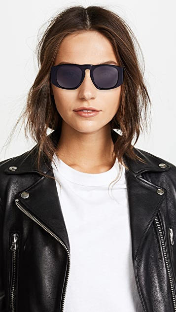 What Goes Around Comes Around Chanel Solid Wide Frame Sunglasses