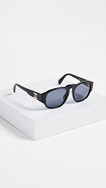 What Goes Around Comes Around Chanel Solid Narrow Frame Sunglesses