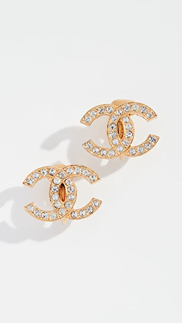 What Goes Around Comes Around Chanel Crystal CC Clip On Earrings