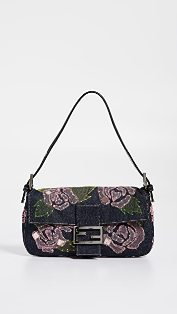 6dd052487b72 What Goes Around Comes Around Fendi Embroidered Denim Baguette