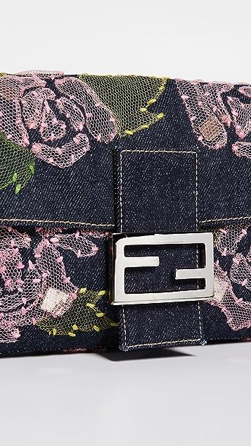 What Goes Around Comes Around Прямоугольная сумка Fendi Baguette из денима с вышивкой