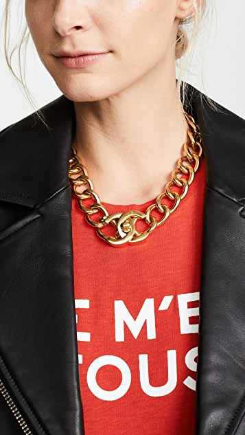 What Goes Around Comes Around Chanel Gold Turnlock Necklace