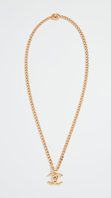 What Goes Around Comes Around Chanel Gold Turnlock Long Necklace