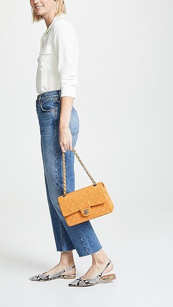 What Goes Around Comes Around Оранжевая сумка Chanel 2.55 диагональю 10дюймов из кожи ягненка
