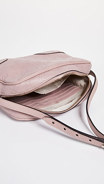 What Goes Around Comes Around Gucci Pink Guccisima Bee Messenger Bag