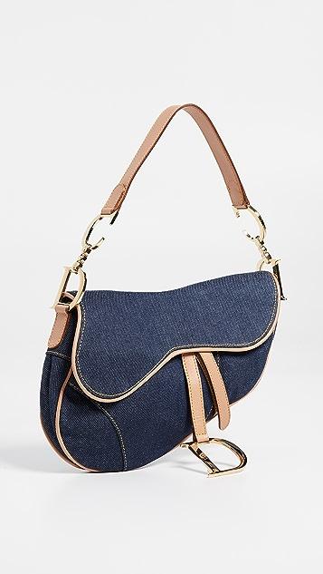 What Goes Around Comes Around Dior Blue Denim Saddle Bag