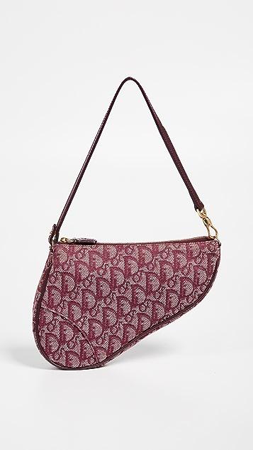 What Goes Around Comes Around Бордовая миниатюрная седельная сумка Dior из холщовой ткани
