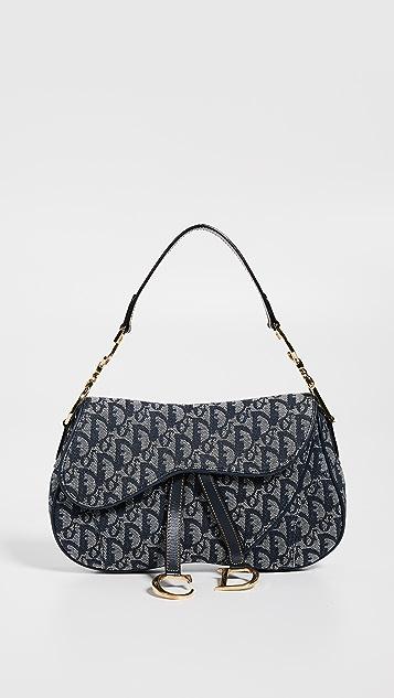 What Goes Around Comes Around Двойная холщовая седельная сумка Dior