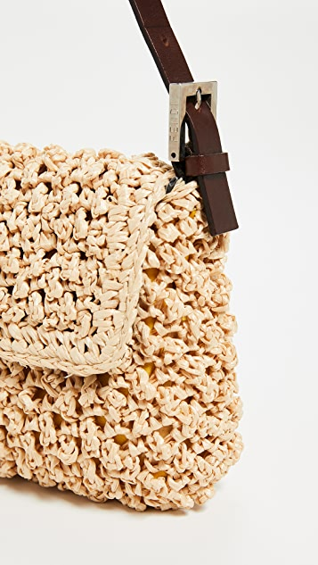 d80a28ab0895 ... What Goes Around Comes Around Fendi Beige Straw Baguette Bag ...