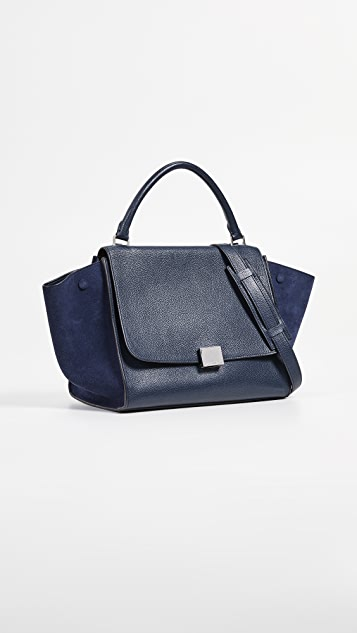 What Goes Around Comes Around Celine Navy Drummed 中号梯形包