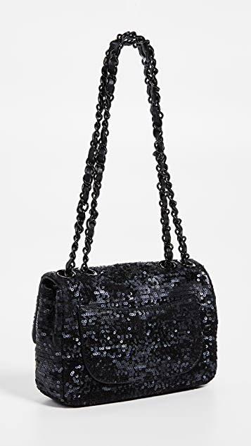 What Goes Around Comes Around Миниатюрная расшитая блестками сумка Chanel с клапаном до половины длины