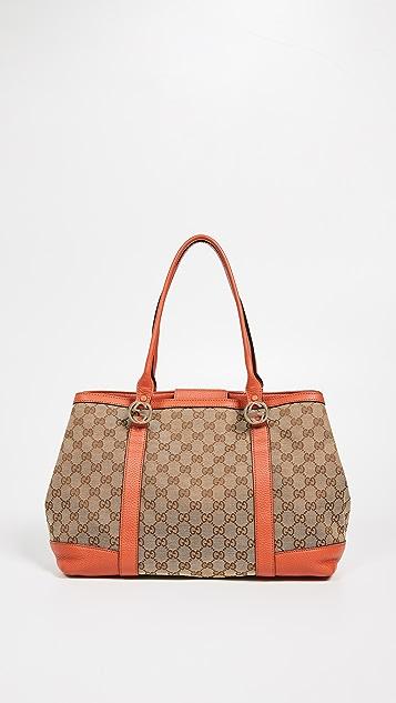 7b204da45d752c What Goes Around Comes Around Gucci Orange Canvas GG Tote Bag | SHOPBOP