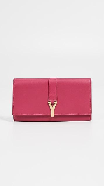 What Goes Around Comes Around Кожаный розовый длинный кошелек YSL