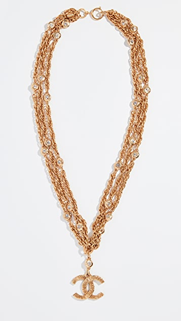 What Goes Around Comes Around Chanel Gold Crystal CC Links Necklace