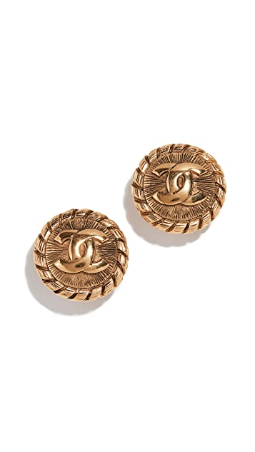 What Goes Around Comes Around Chanel Gold Sunburst Earrings
